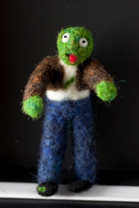 stinky the zombie felted zombie doll pin